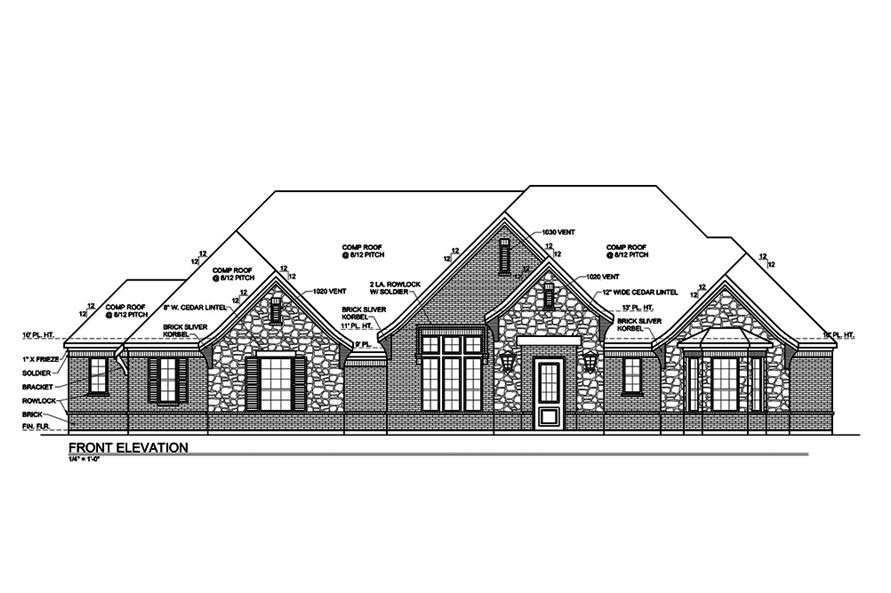 Home Plan Front Elevation of this 4-Bedroom,3180 Sq Ft Plan -199-1014
