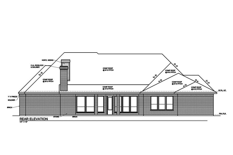 Home Plan Rear Elevation of this 4-Bedroom,3180 Sq Ft Plan -199-1014
