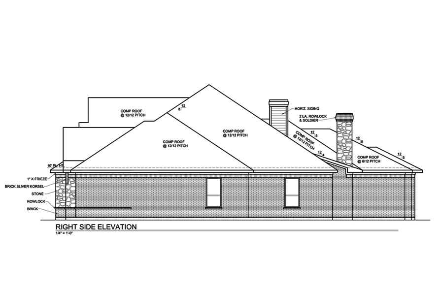 Home Plan Right Elevation of this 4-Bedroom,3180 Sq Ft Plan -199-1014