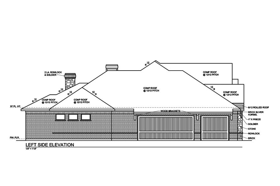 Home Plan Left Elevation of this 4-Bedroom,3180 Sq Ft Plan -199-1014
