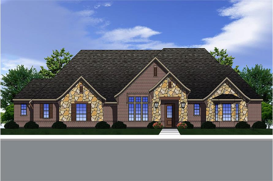 4-Bedroom, 3180 Sq Ft Traditional House Plan - 199-1014 - Front Exterior