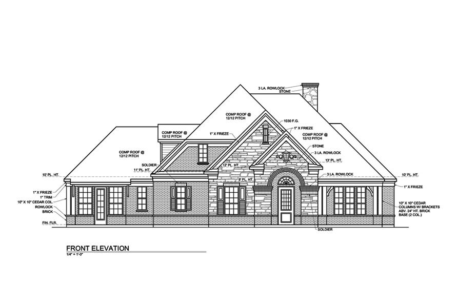 Home Plan Front Elevation of this 3-Bedroom,3004 Sq Ft Plan -199-1016