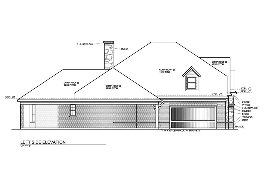 Home Plan Left Elevation of this 3-Bedroom,3004 Sq Ft Plan -199-1016