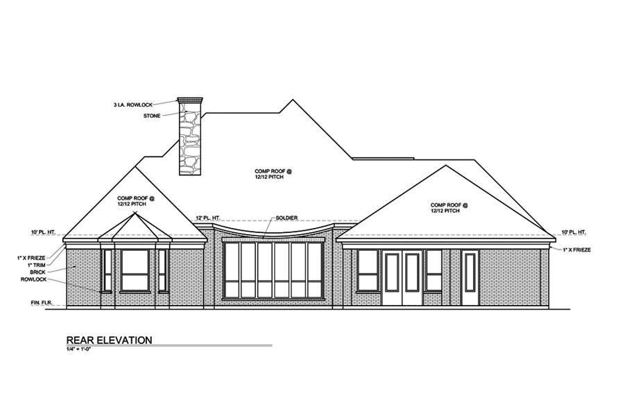 Home Plan Rear Elevation of this 3-Bedroom,3004 Sq Ft Plan -199-1016