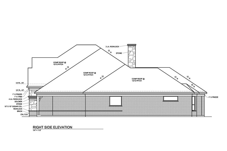 Home Plan Right Elevation of this 3-Bedroom,3004 Sq Ft Plan -199-1016