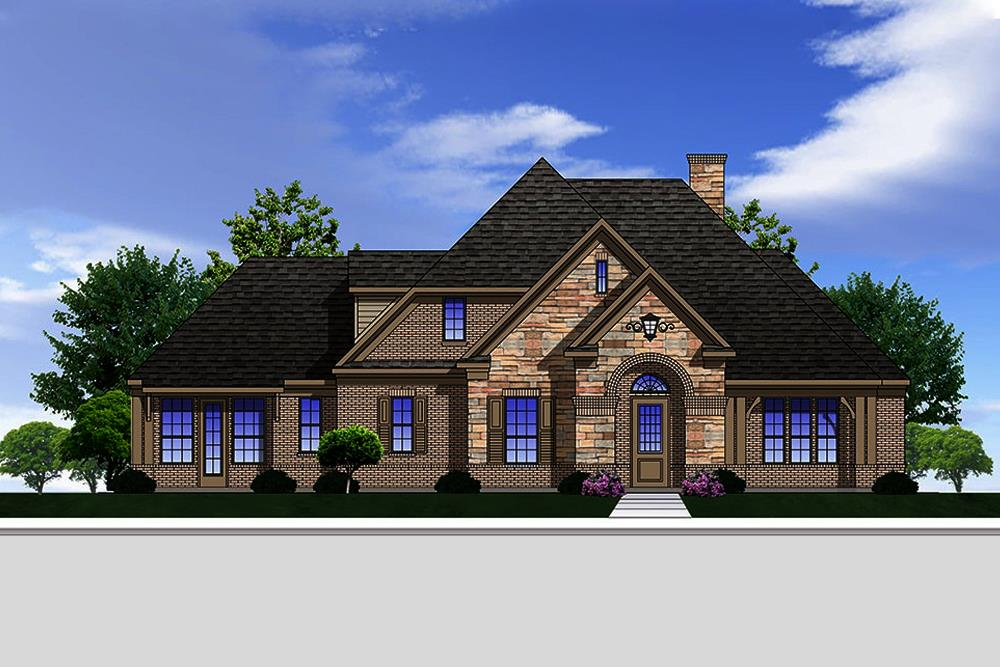 Front elevation of Traditional home plan (ThePlanCollection: House Plan #199-1016)