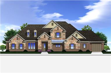 Front elevation of Traditional home plan (ThePlanCollection: House Plan #199-1017)