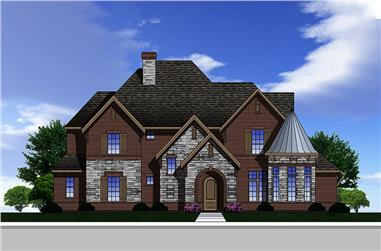 Front elevation of Traditional home plan (ThePlanCollection: House Plan #199-1018)