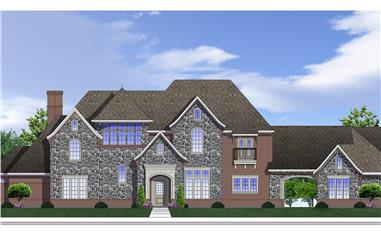 Front elevation of Traditional home plan (ThePlanCollection: House Plan #199-1020)
