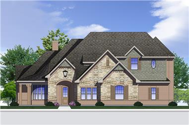 Front elevation of Luxury home plan (ThePlanCollection: House Plan #199-1021)