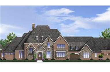 4-Bedroom, 6176 Sq Ft French Home Plan - 199-1022 - Main Exterior