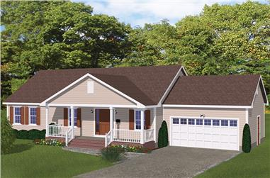 3-Bedroom, 1392 Sq Ft Traditional House Plan - 200-1001 - Front Exterior