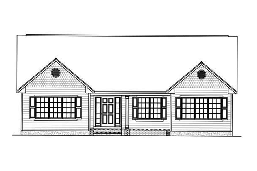 Home Plan Front Elevation of this 3-Bedroom,1438 Sq Ft Plan -200-1002