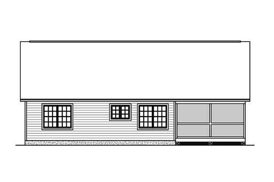 Home Plan Rear Elevation of this 3-Bedroom,1438 Sq Ft Plan -200-1002