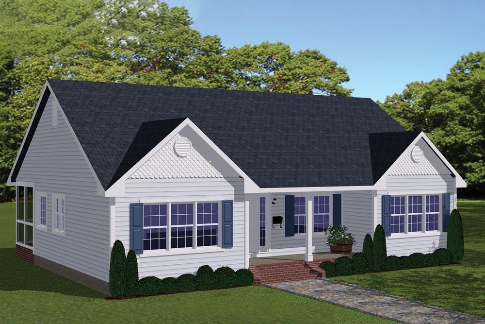 Front elevation of Traditional home (ThePlanCollection: House Plan #200-1002)