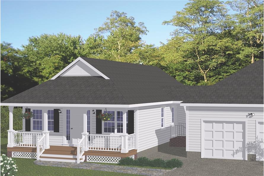 3-Bedroom, 1226 Sq Ft Cottage Home Plan - 200-1009 - Main Exterior