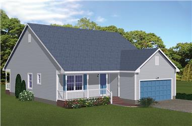 3-Bedroom, 1311 Sq Ft Cottage House Plan - 200-1011 - Front Exterior