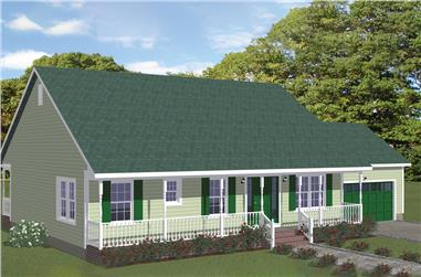 3-Bedroom, 1268 Sq Ft Country House Plan - 200-1013 - Front Exterior