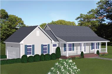 2-Bedroom, 1085 Sq Ft Cottage House Plan - 200-1017 - Front Exterior