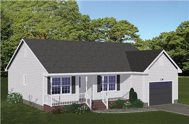 3-Bedroom, 1198 Sq Ft Ranch House Plan - 200-1021 - Front Exterior