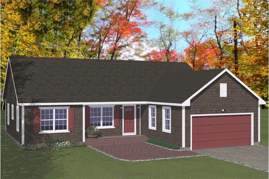 Home Plan Rendering of this 3-Bedroom,1380 Sq Ft Plan -1380