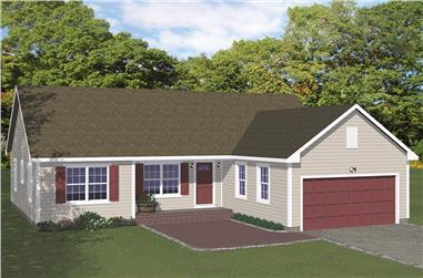 3-Bedroom, 1380 Sq Ft Ranch House Plan - 200-1023 - Front Exterior
