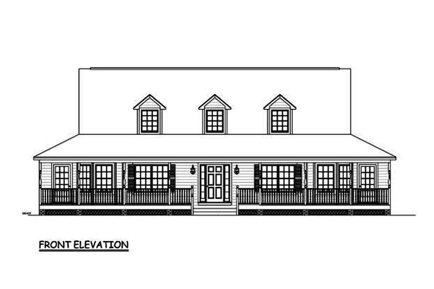 Home Plan Front Elevation of this 3-Bedroom,1704 Sq Ft Plan -200-1024