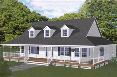3-Bedroom, 1704 Sq Ft Farmhouse House Plan - 200-1024 - Front Exterior