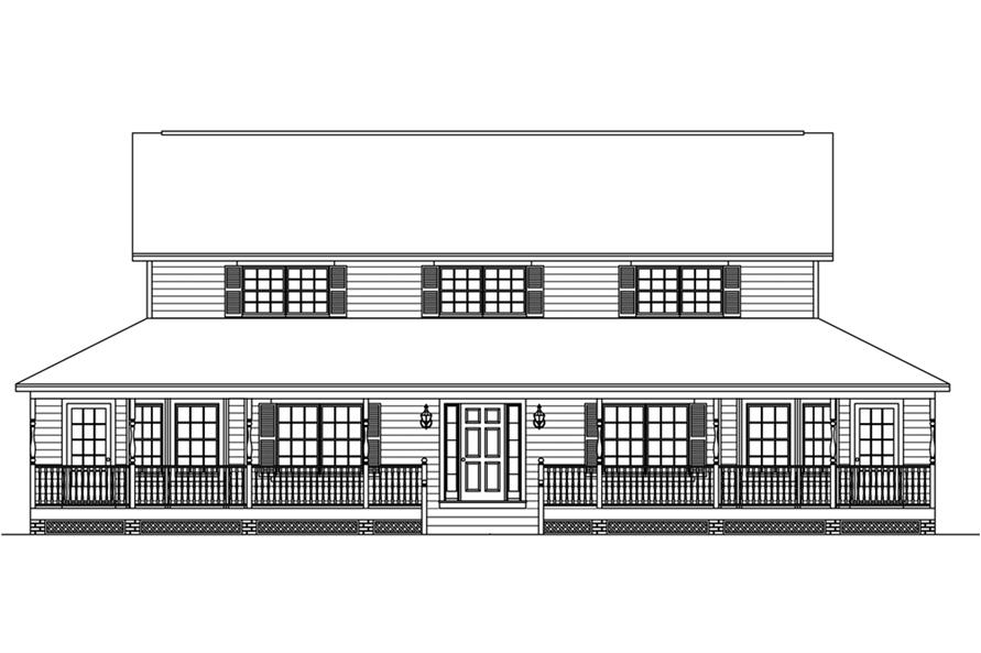 Home Plan Front Elevation of this 5-Bedroom,3130 Sq Ft Plan -200-1025