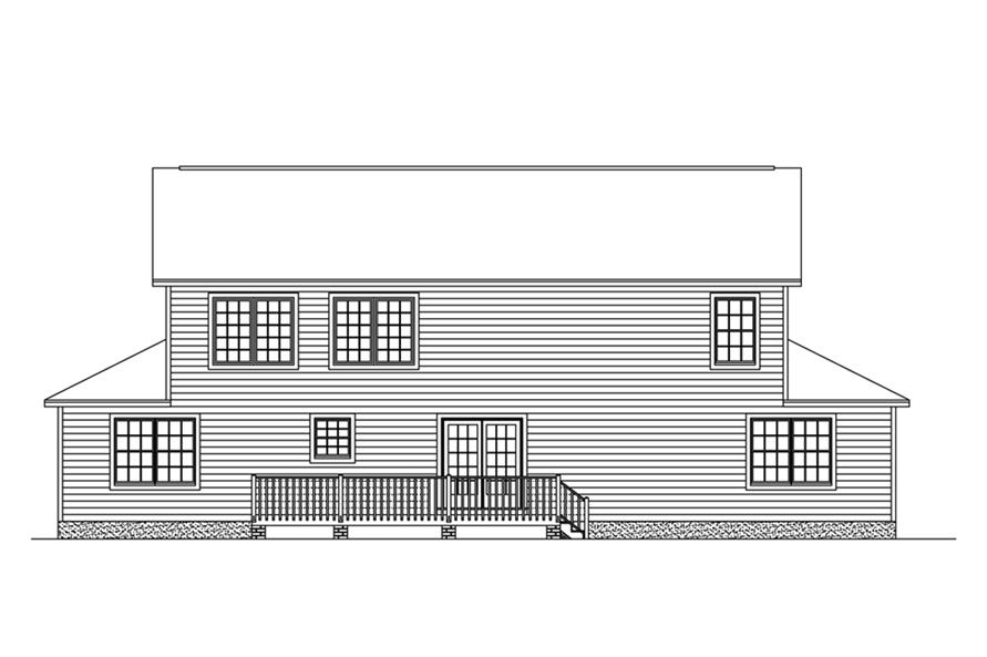 Home Plan Rear Elevation of this 5-Bedroom,3130 Sq Ft Plan -200-1025
