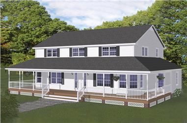 Farmhouse home plan (ThePlanCollection: House Plan #200-1025)