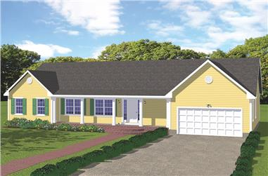 3-Bedroom, 1996 Sq Ft Ranch House Plan - 200-1029 - Front Exterior