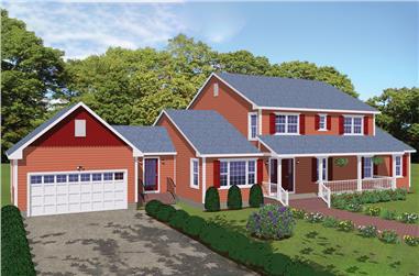 4-Bedroom, 3123 Sq Ft Farmhouse Home Plan - 200-1036 - Main Exterior