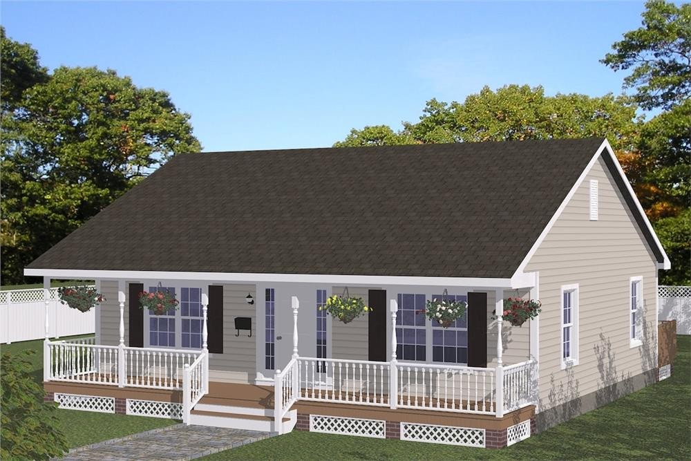 Front elevation of Cottage home (ThePlanCollection: House Plan #200-1042)
