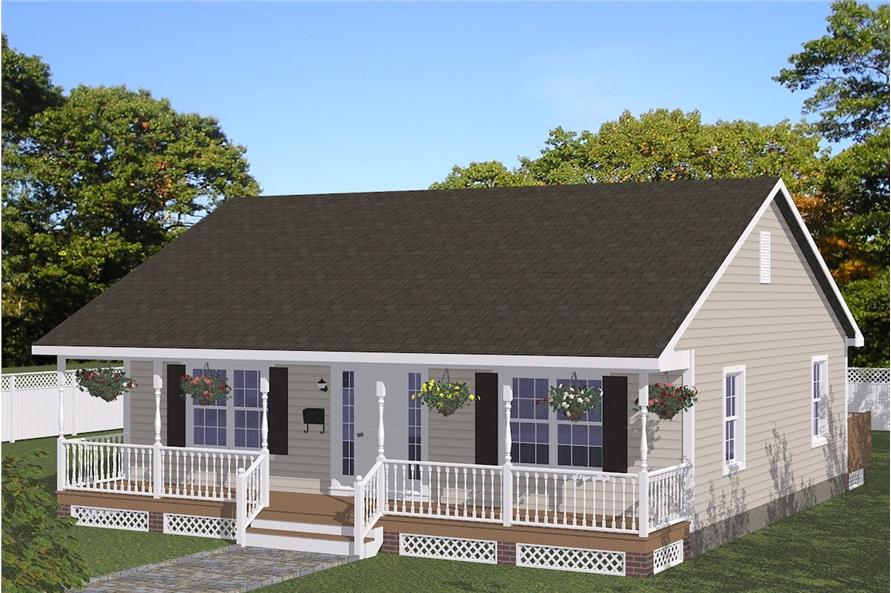 2-Bedroom, 1080 Sq Ft Cottage Home Plan - 200-1042 - Main Exterior