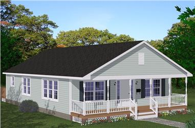 3-Bedroom, 1408 Sq Ft Cottage House Plan - 200-1044 - Front Exterior