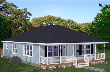 3-Bedroom, 1408 Sq Ft Cottage Home Plan - 200-1045 - Main Exterior