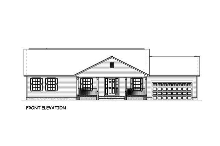 Home Plan Front Elevation of this 3-Bedroom,1392 Sq Ft Plan -200-1051