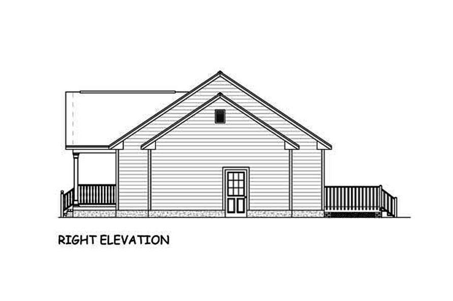 Home Plan Right Elevation of this 3-Bedroom,1392 Sq Ft Plan -200-1051