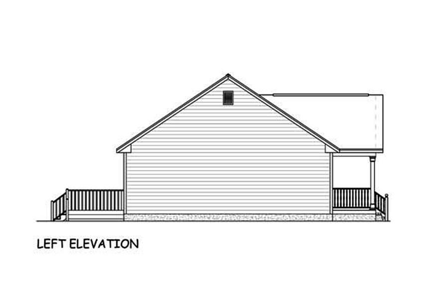 Home Plan Left Elevation of this 3-Bedroom,1392 Sq Ft Plan -200-1051