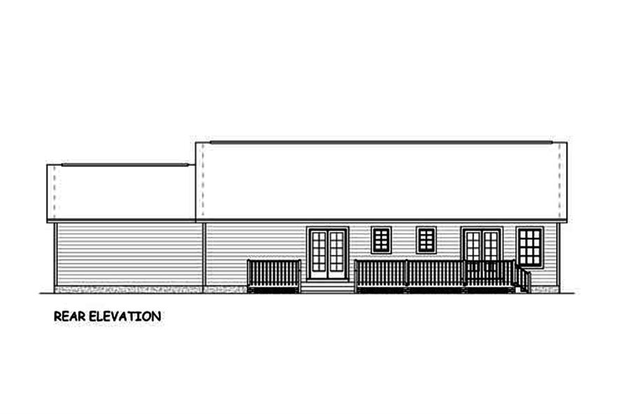 Home Plan Rear Elevation of this 3-Bedroom,1392 Sq Ft Plan -200-1051