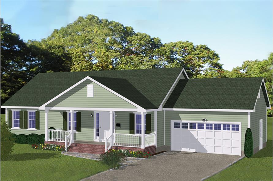3-Bedroom, 1392 Sq Ft Traditional House Plan - 200-1051 - Front Exterior