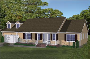Front elevation of Ranch home (ThePlanCollection: House Plan #200-1053)