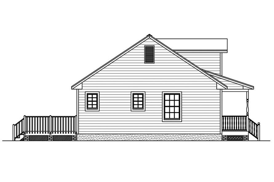 Home Plan Left Elevation of this 3-Bedroom,1381 Sq Ft Plan -200-1057