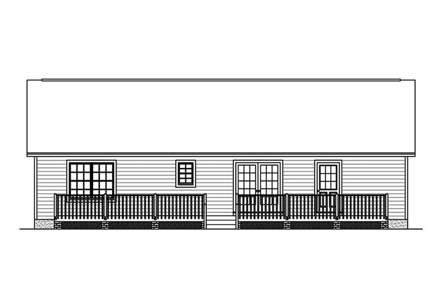 Home Plan Rear Elevation of this 3-Bedroom,1381 Sq Ft Plan -200-1057