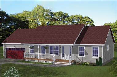 3-Bedroom, 1392 Sq Ft Ranch House Plan - 200-1058 - Front Exterior