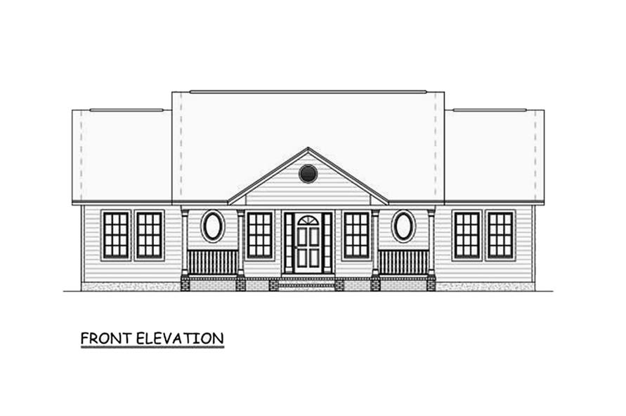 Home Plan Front Elevation of this 3-Bedroom,1400 Sq Ft Plan -200-1060