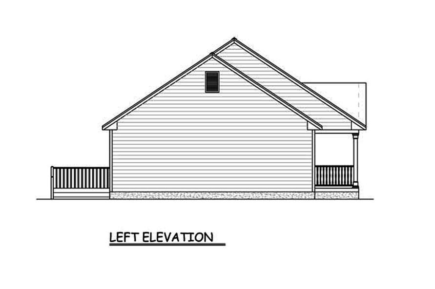 Home Plan Left Elevation of this 3-Bedroom,1400 Sq Ft Plan -200-1060