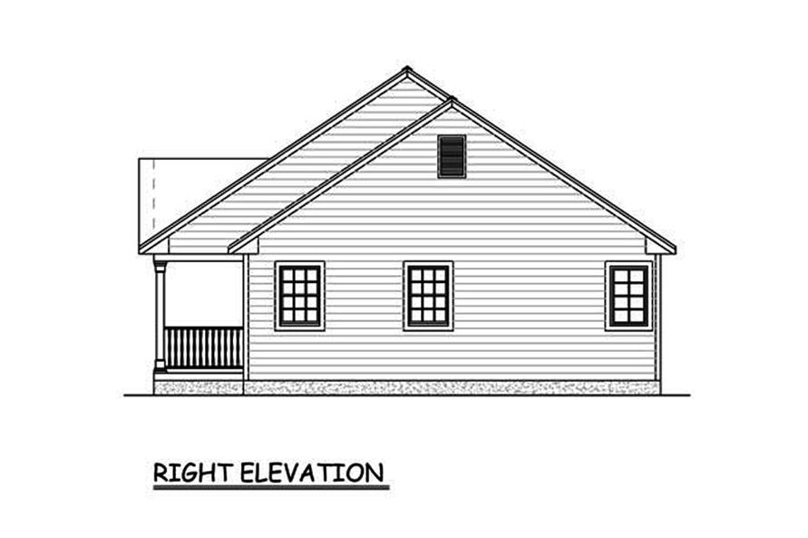 Home Plan Right Elevation of this 3-Bedroom,1400 Sq Ft Plan -200-1060