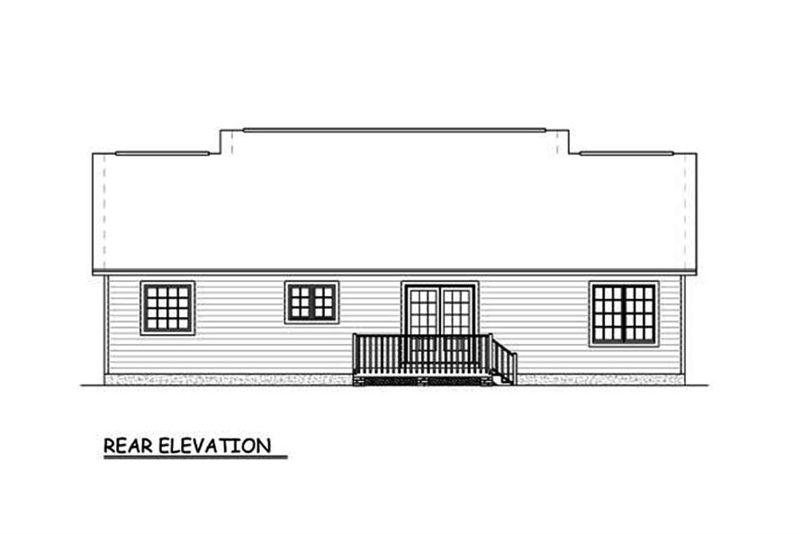 Home Plan Rear Elevation of this 3-Bedroom,1400 Sq Ft Plan -200-1060